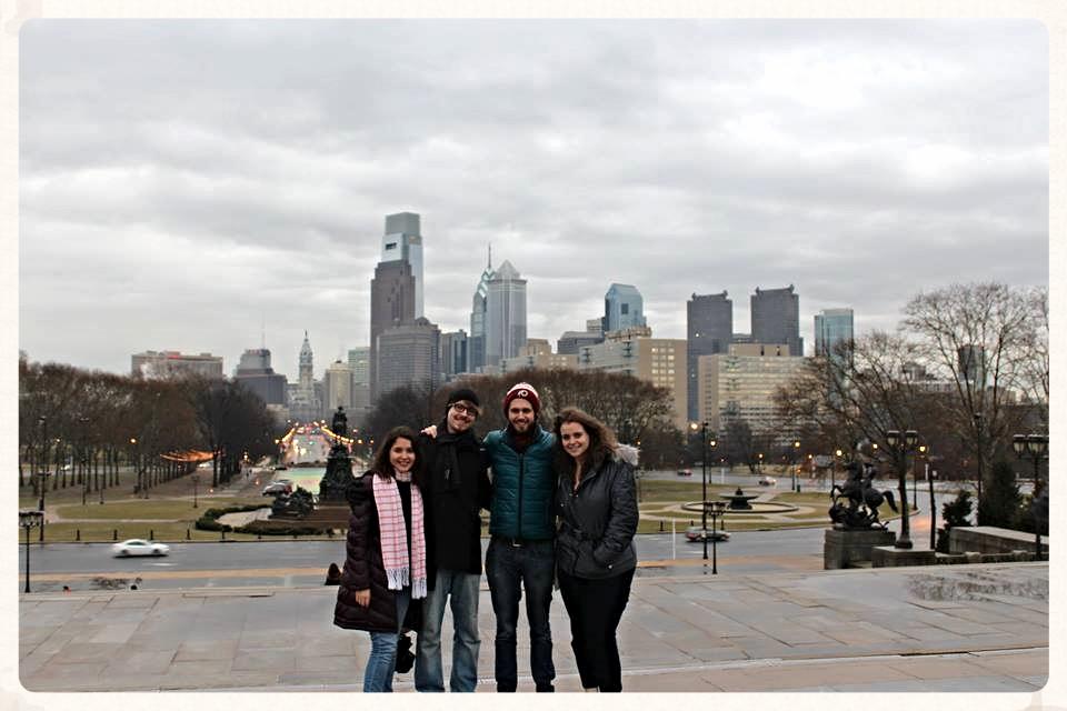 Pamela (Mexico), Niko (Finland), Leo (Duitsland) en ik (Malawi) in Philadelphia.