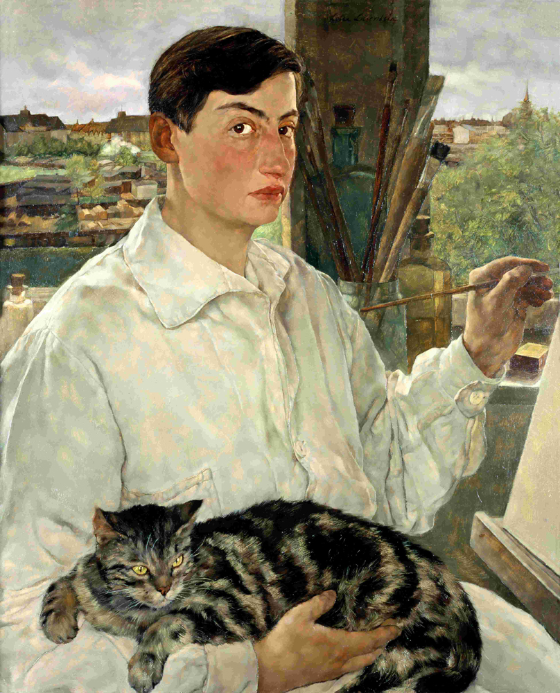 Self-portrait with a cat, 1923