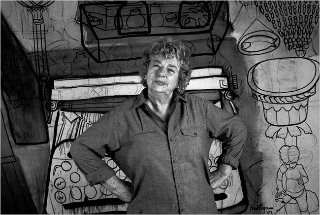 Grace Hartigan in her studio: Photo Marty Katz