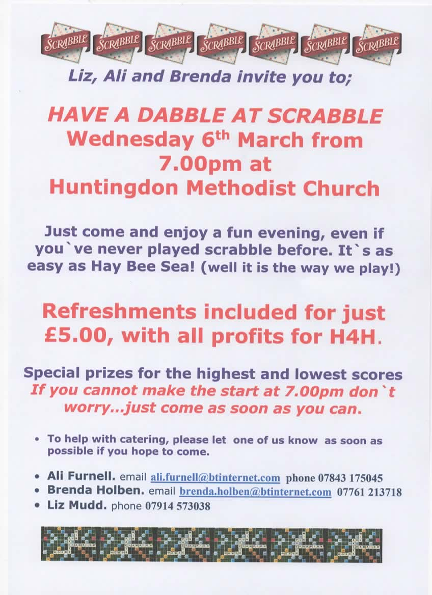 Have a Dabble at Scrabble!  Wednesday 6th March from 7 pm.  Just come and enjoy a fun evening, even if you've never played Scrabble before.  It's as easy as Hay Bee Sea!  (It is the way we play it!)  Special prizes for the highest and lowest scores.  If you cannot make the start at 7pm don't worry… just come as soon as you can.  To help with catering please let us know as soon as possible if you hope to come.