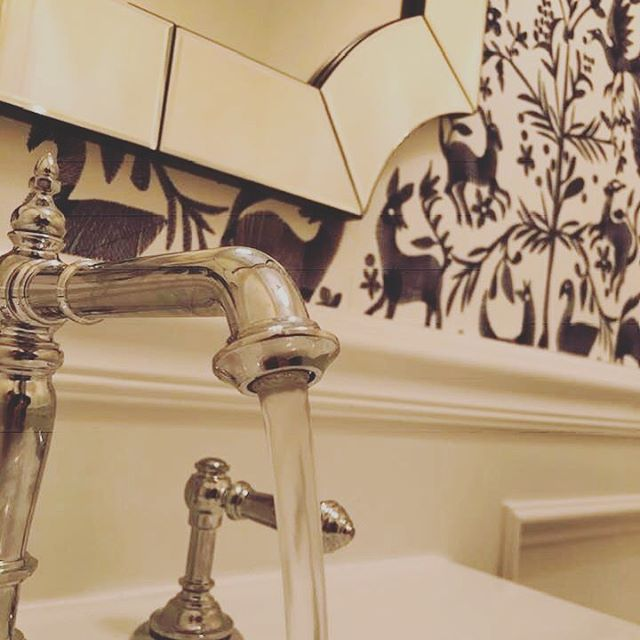 Sneak peek at the latest! @nhowedesign #embroidered #wallpaper #powderbathroomdesign #interiordesign #kohler