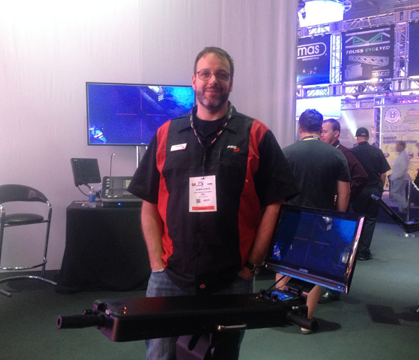 Chris on the LDI show floor with the newly launched GroundControl Remote Followspot System