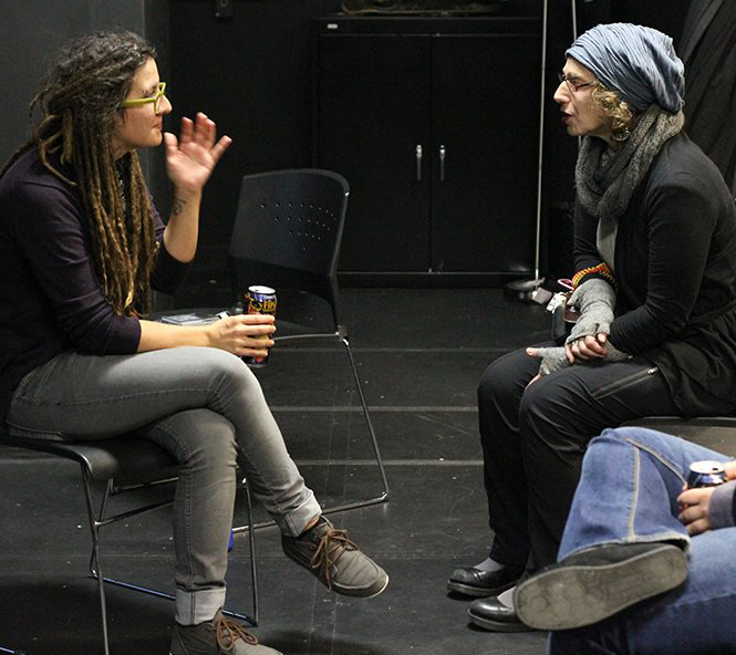 Schaer, right, conferring with a Columbia College MFA candidate