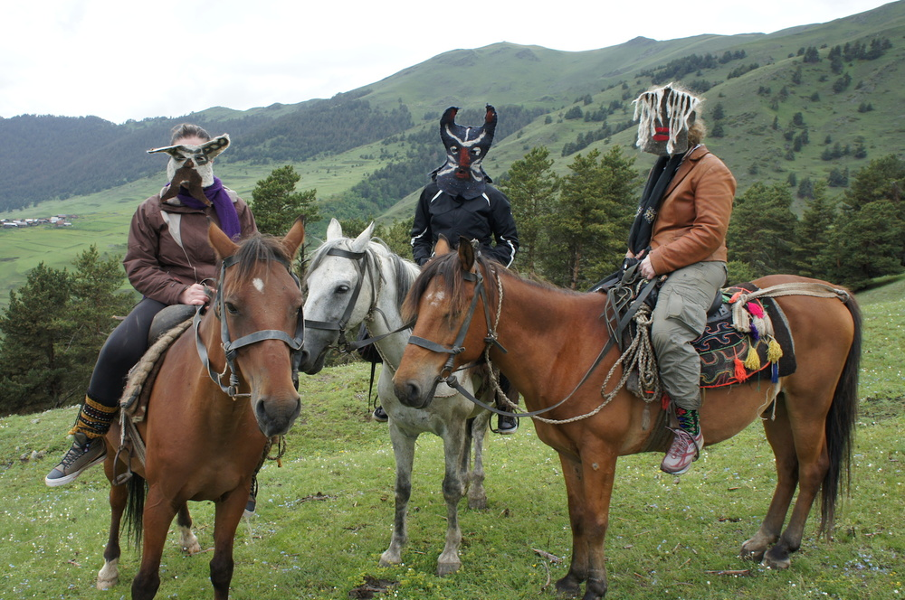 Felt Feminist Masks ride in Tushetti, Republic of Georgia, near the Dagestan border