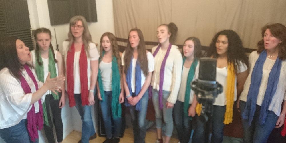 Bija Treble Choir recording session April 2018 Sebastopol