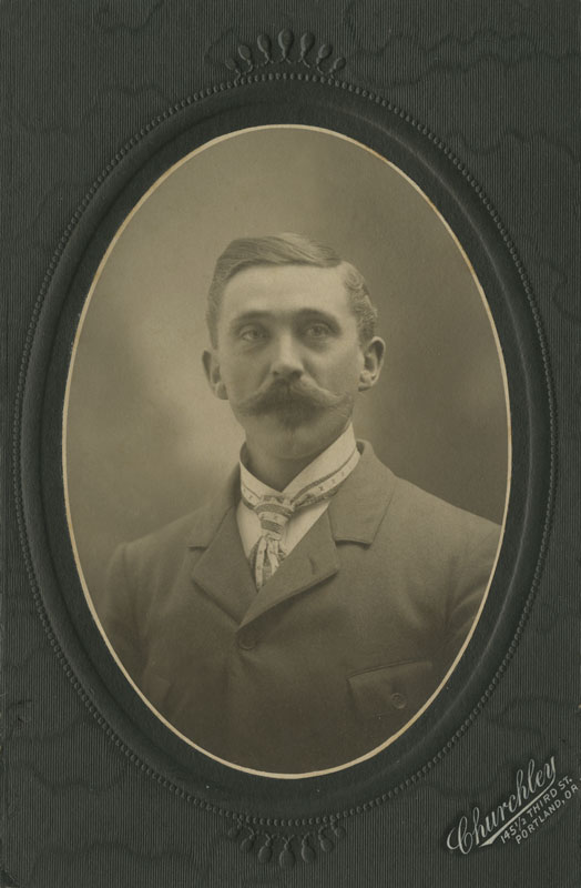 Erik Andreas Perrson, portrait taken at Churley's // 145.5 Third St., Portland, OR. (1903-5)