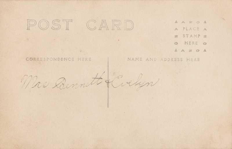 Backside of postcard with handwritten note; Mrs. Bennett & Evelyn.