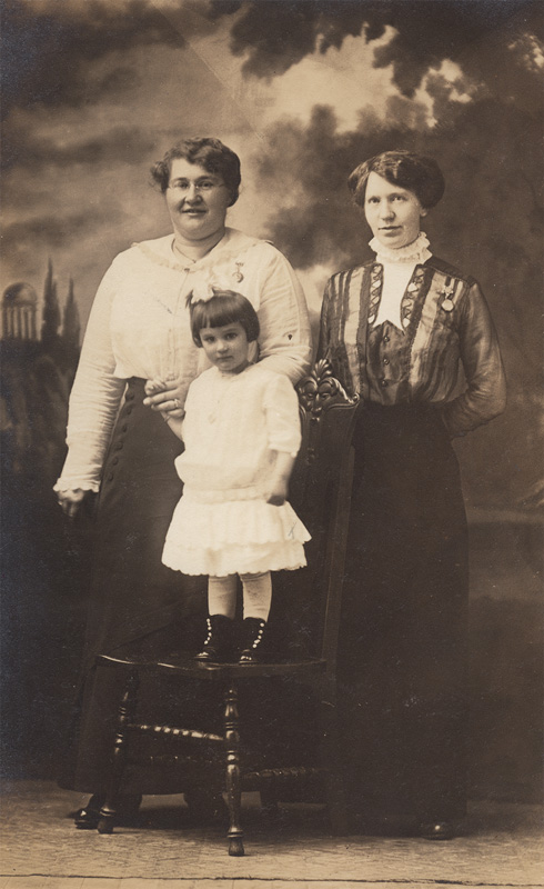 Mrs. Minnie Baldridge and daughter Edna accompanied by Mrs. Mary Bergstrom.