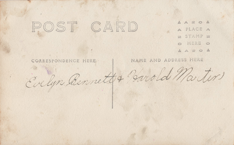 Backside of postcard with handwritten note; Evelyn Bennett & Harold Martin