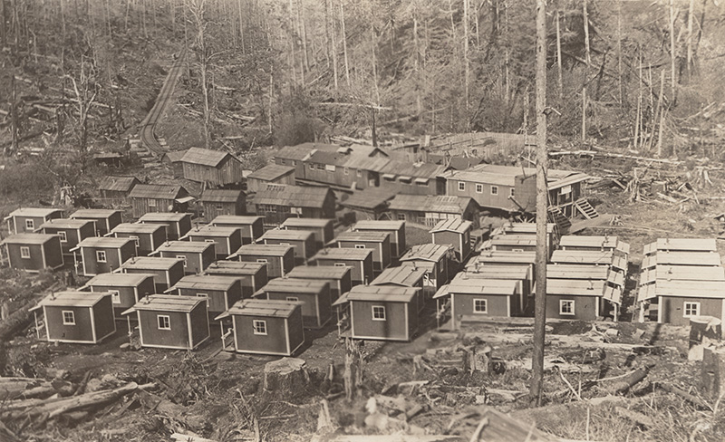 Photo by E. A. Persson of W. L. & T. Co. near Oak Point, WA. Lieutenant headquarters middle right. (1906-10)
