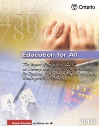 Education For All (2005) This report provides Ontario teachers with specific strategies that will help them teach literacy and numeracy more effectively to students with diverse strengths and needs; show them how to develop a learning profile of classrooms and of individual students; provide assessment, evaluation, and planning strategies; and provide detailed information on instructional support and assistive technology.