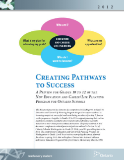 Creating Pathways to Success: A Preview For Grades 10 to 12 of The New Education And Career/Life Planning Program For Ontario Schools 2012   This document presents key elements of a comprehensive Kindergarten to Grade 12 Education and Career/Life Planning Program designed to support students in becoming competent, successful, and contributing members of society.