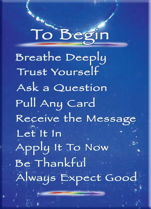 Instruction card for Ask the Light Miracle cards. Easy direct simple True