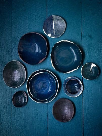 blue indigo ceramic vessels