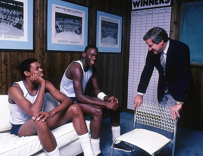 A young college Michael Jordan & Coach Dean Smith laughing