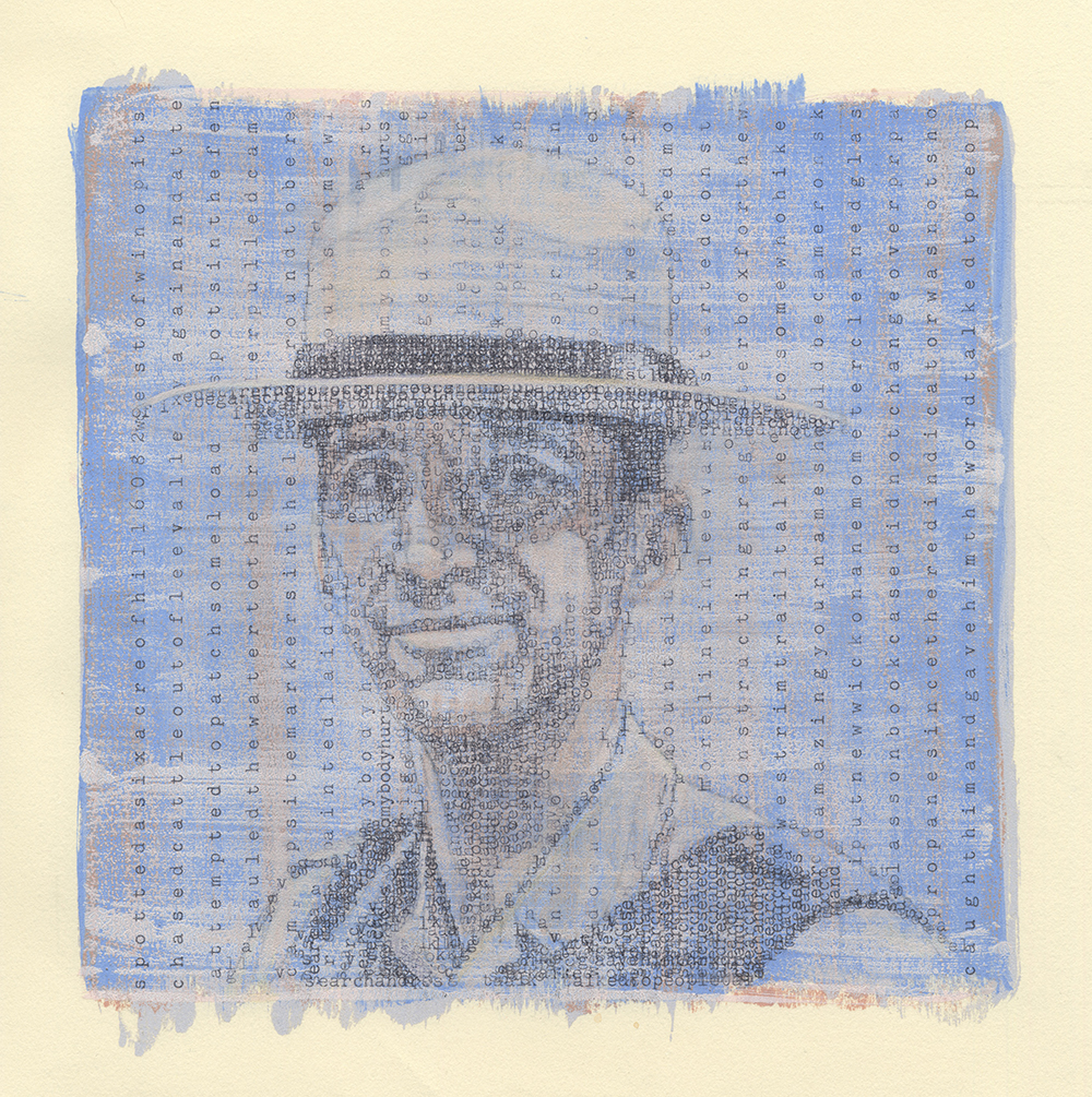 Portrait of a Ranger  Typewritten Ink and Printed Acrylic on Paper 8 x 8 inch image on 10 x 10 inch paper, 2015  Portrait of Zion National Park law enforcement ranger Rayne Rohrbach created with entries from earlier park rangers in a 1974 Lava Point Log, acc# 11889.