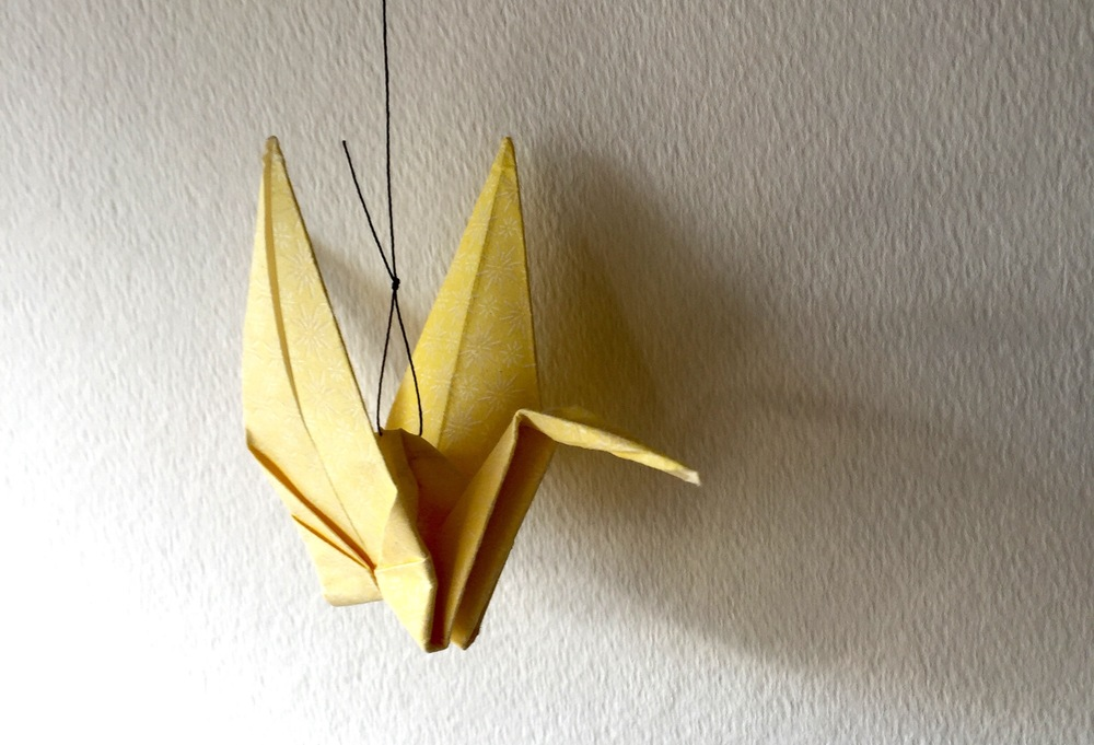 A crane given to me on my 19th birthday by my friend, the origami wizard.