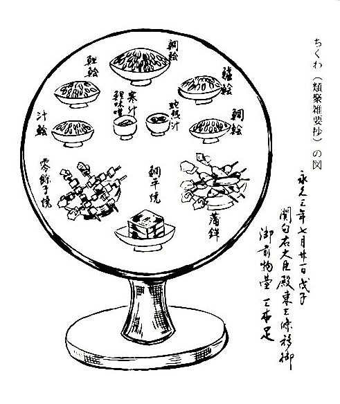 Illustration of kamaboko from Heian period.