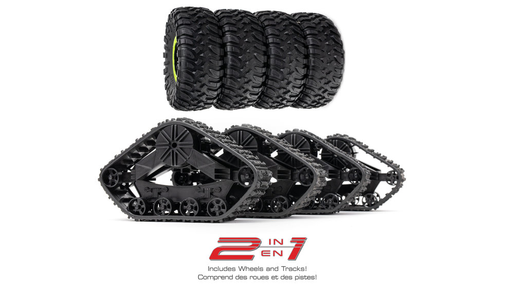 Wheels and Tracks Included - BIG TOM SC includes a full set of fully functioning Snow Cross tracks as well as a complete set of over-sized off road tires!