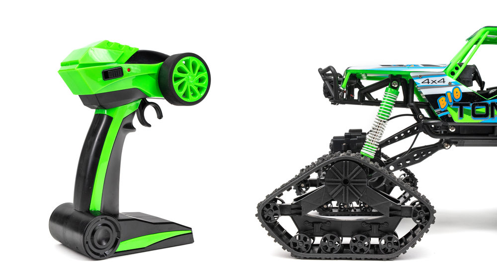 Ready to Conquer! - With the Big Tom's giant tracked wheels, you can truly feel like the king of any terrain. Snow, ice, mud, gravel, grass, you name it and the Big Tom can handle it!