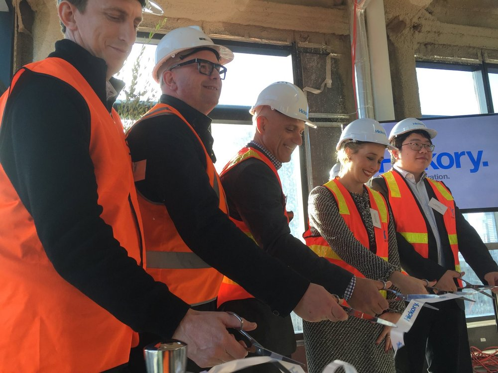 L-R:   Matt Burns, Sinclair Brook; Stuart Marsland, Rothelowman Architects; Michael Argyrou, Hickory Group Australia; Gabrielle Williams MP, State Member for Dandenong; Andrew Yu, Longriver