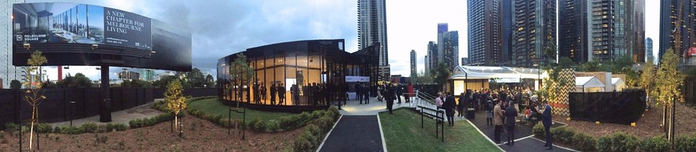 Panorama of the Melbourne Square display suite during the successful VIP opening.
