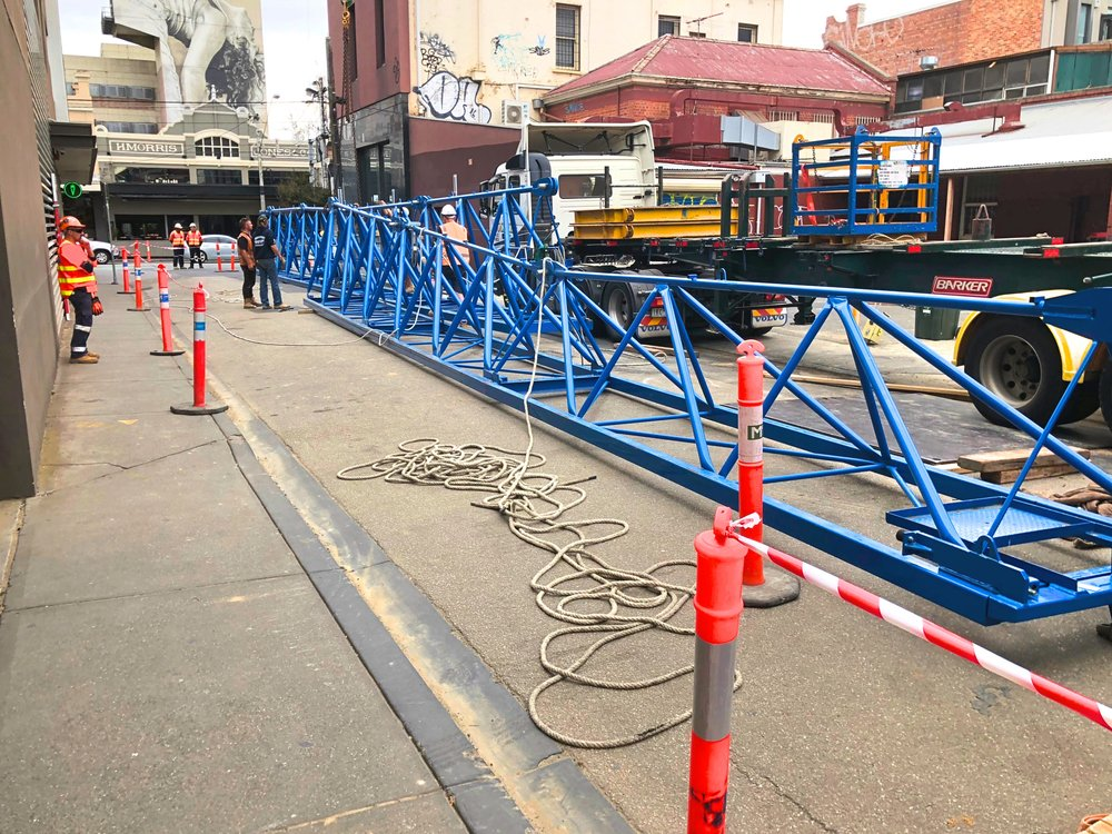 The crane resting on ground level before being erected vertically.   Images courtesy of Balmain & Co.