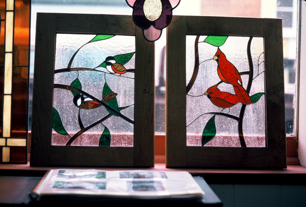 Chickadees & Cardinals  Hutch Door Panels