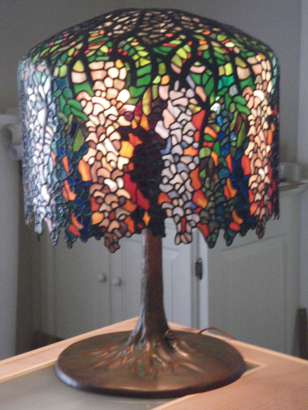 Tiffany Multi-colored Sunset Wisteria Lamp