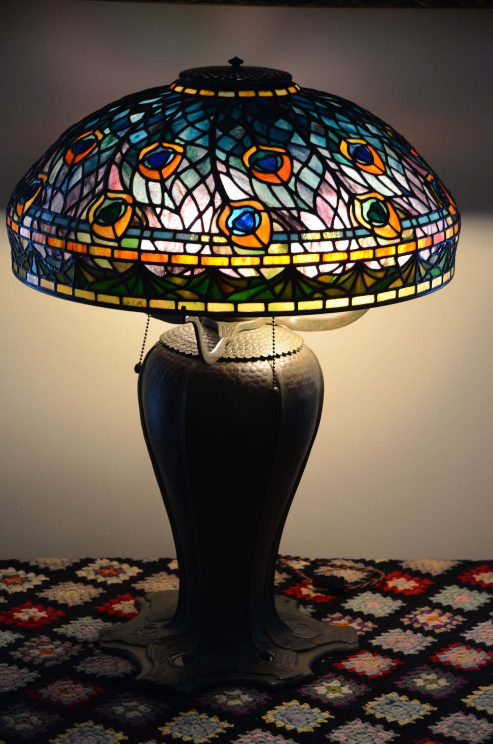 "Exact reproduction of Tiffany's 18"" Peacock Lamp"