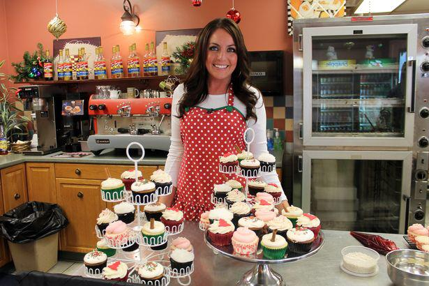 kristen kane with some of her sweet creations for the Wpxi cupcake contest (photo courtesy of wpxi)