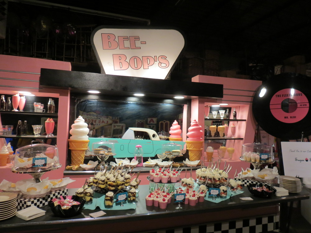 1950's Themed diner & drive-in dessert station complete with mini-parfaits and desserts that look like mini hamburgers