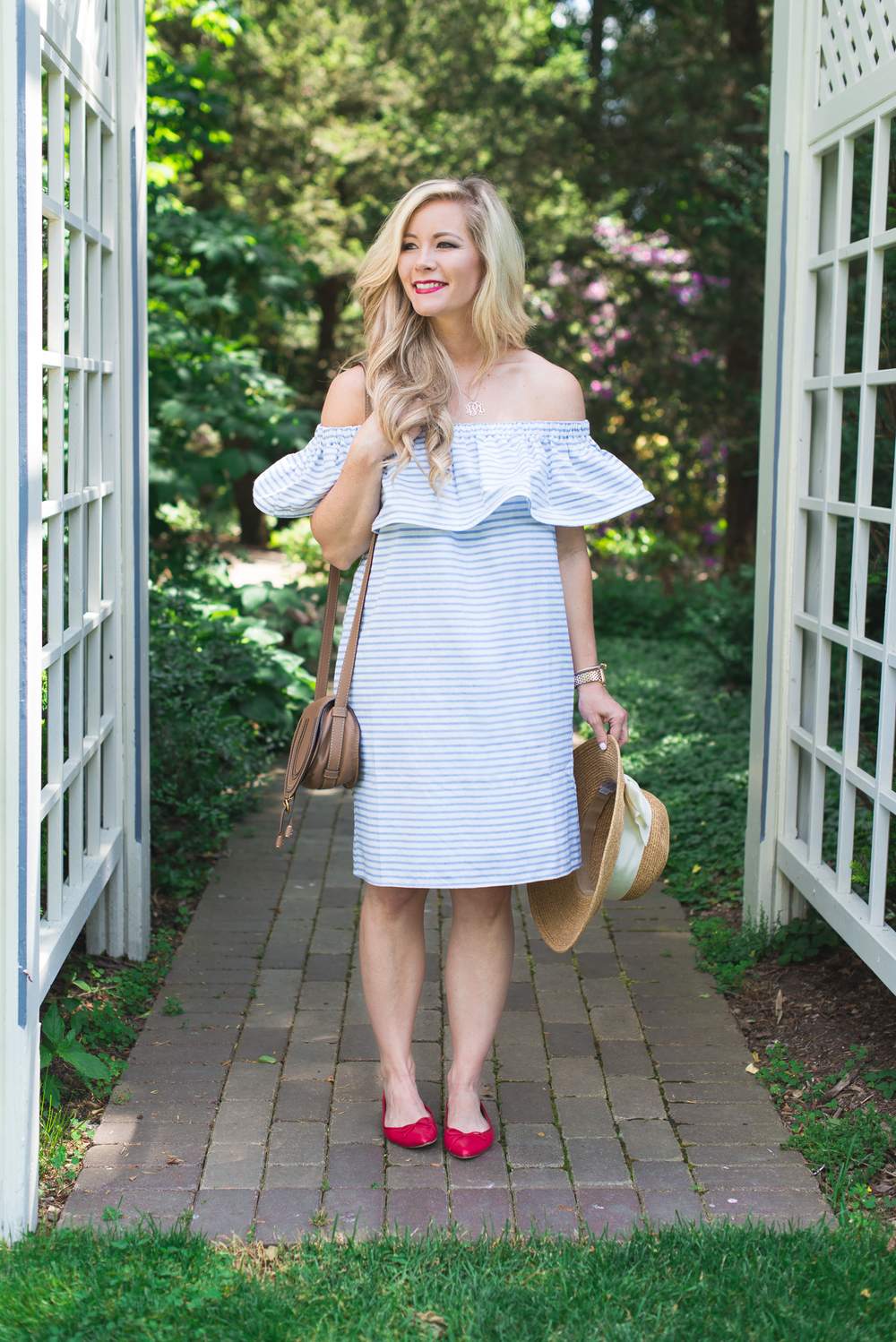 ashley showing off one of summer's hottest trends - the off-the-shoulder dress