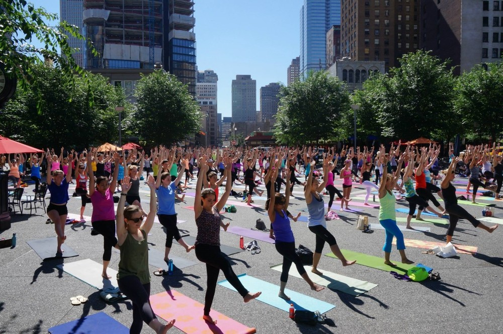 yoga in the square.  photo by renee rosensteel