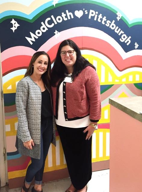 Aire and I in front of the modcloth mural