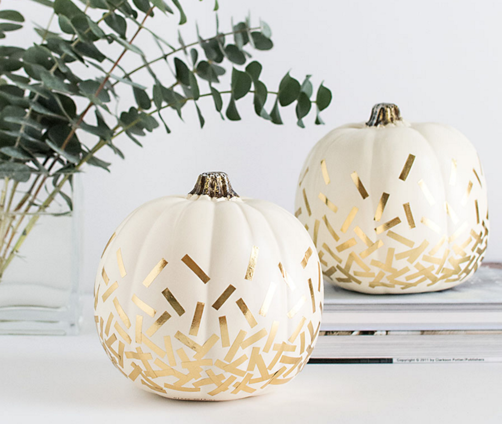 diy gold confetti pumpkin - pic from homey oh my