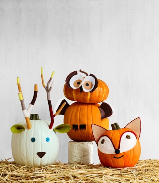 woodland creatures pumpkins - pic from country living