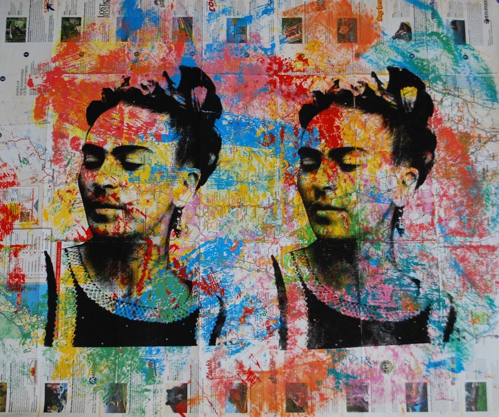 Frida Mapa Grande 2. 23 x 28 in