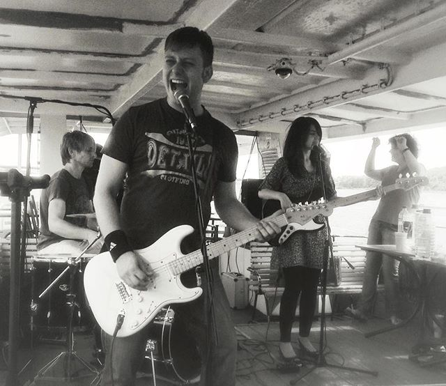 @utkuferuz lent me this beautiful Fender Strat just before I moved to US. for a brief period of time I was playing a white strat, which probably was the reason why I got a white tele deluxe right after. This is a photo from a gig we played on a boat on Dnipro river for some crazy English teachers who got us all drunk at noon. Coming to Kyiv and visiting those places brings back some of these blurry memories.  #band #rock #guitar #fenderstrat #whiteguitar #whitestrat #rocknroll #kyiv #kiev #music #rockmusic #livemusic