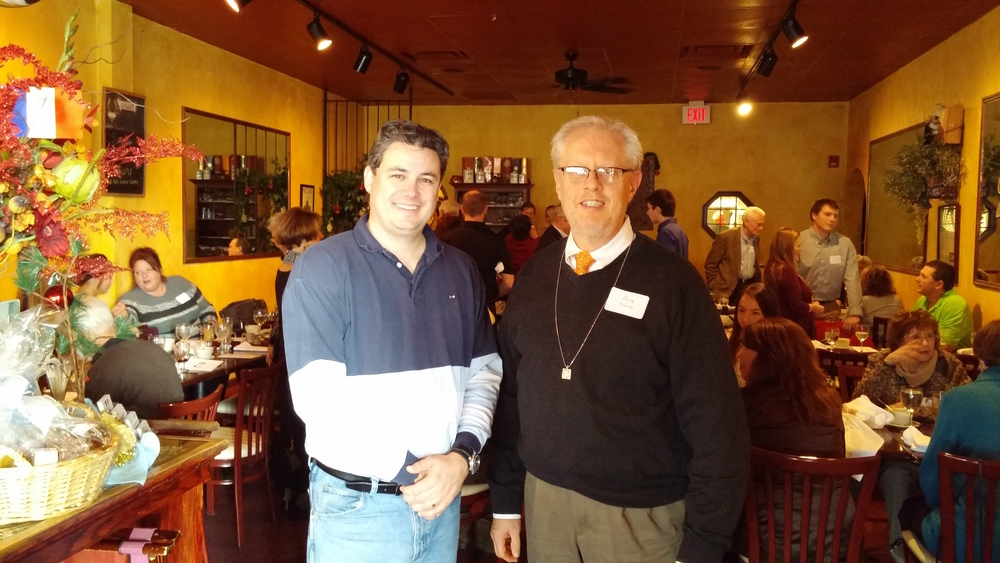 Mr. Terry Sweeney, Scholarship Donor and Friend of the Bailey Olsbo Family, with Cédric Fichepain, owner of Le Voltaire Restaurant and AFO Board Member