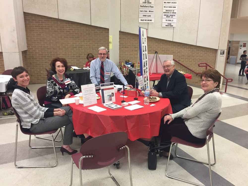 AFO volunteers at the Alliance Francaise table — left to right are: Beth McCartney, Anne Marie Kenny, David Teche, Bernie Duhaime and Rosemary Duhaime. Not pictured: Kate Kennedy (taking pictures!)
