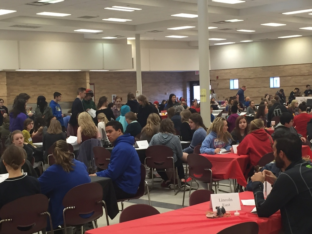 partial view of the hundreds of French students teachers in the jam-packed cafeteria at Millard South High.