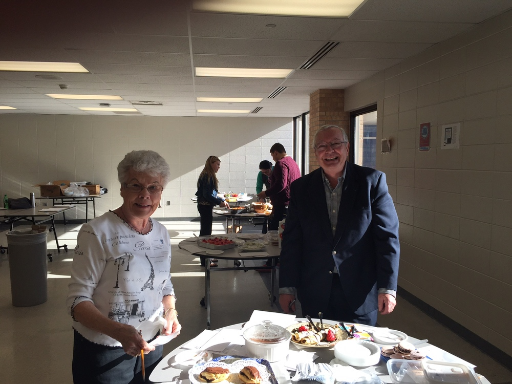 AFO volunteers Darlene Menard and Bernie Duhaime having fun judging the culinary delights