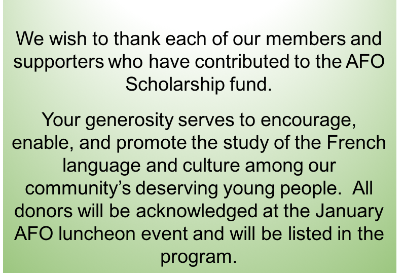 Afo Scholarship Program Alliance Franaise Domaha