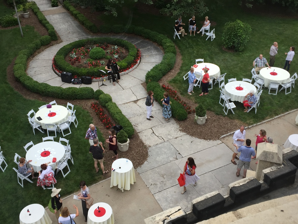 View from Josyln Castle turret.    Our thanks to Mary Jochim for arranging our beautiful venue. Mary is an AFO member, former Joslyn Castle board member, and she has her financial services firm at the Joslyn Castle Carriage House.