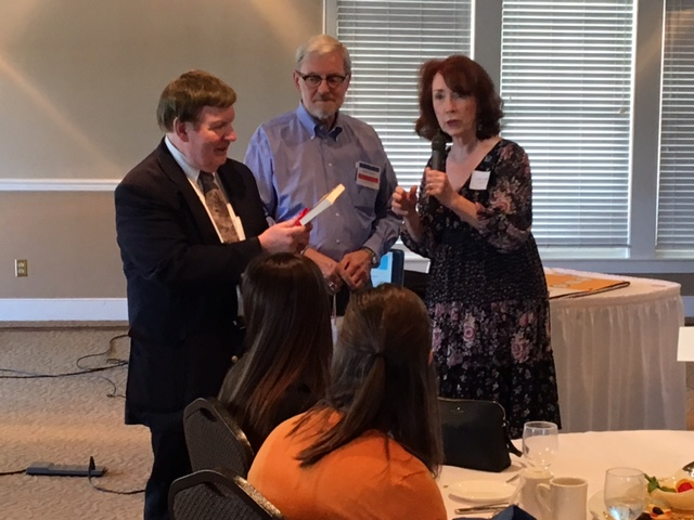 Thomas Coffey, our esteemed presenter, receiving our thanks from Anne Marie Kenny, AFO President and David Teche, AFO VP.