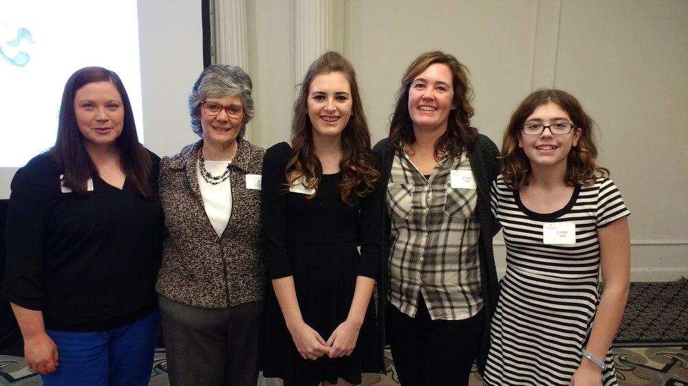 French teacher Jen Rotherham; Scholarship Administrator Mitzi Friedman; Recipient Payton Alber, Mrs. Alber & sister