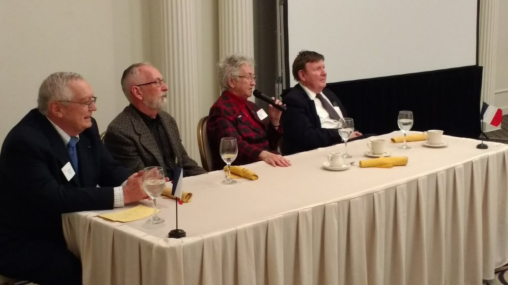 Our distinguished panelists, Bernie Duhaime, Michael James, Sr. Aline Paris, and Tom Coffey (moderator)