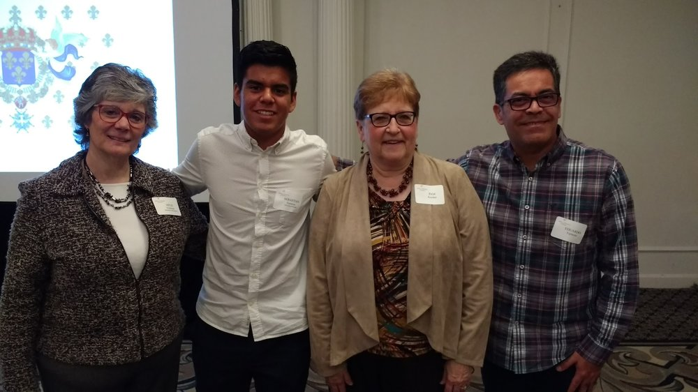 Scholarship Administrator Mitzi Friedman; Recipient Sebastian Espinoza; French teacher Pam Kooiker; Mr. Espinoza