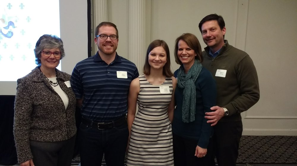 Scholarship Administrator Mitzi Friedman; French teacher Paul Callahan; Recipient Darby Ronning, Mr. & Mrs. Ronning